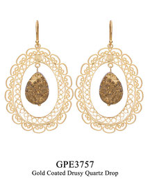 GPE3757: GP 139, G OF E GP HANGING EARRING OBLONG FILIGREE W/ GOLD COATED DRUSY QUARTZ DROP IN CENTER.