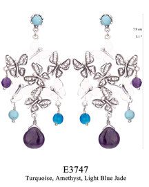 E3747: OXI 119, G OF E OXI POST EARRING TURQUOISE IN CUP. LACE & SOLID BUTTERFLIES. TURQUOISE, AMETHYST & LIGHT BLUE JADE ON THE BOTTOM.