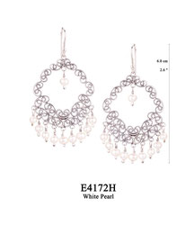 E4172H OXI 105, GP 125:  EARRING HANGING, FILIGREE LOTUS FLOWER W/ WHITE PEARL IN CENTER,  W/9 WHITE PEARL DROPS.