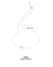 CS013 OXI 69, GP 79: CHAIN CRYSTAL NEAR CLASP, WITH SOLID LOTUS FLOWER W/ WHITE CZ ON TOP OF FLOWER.