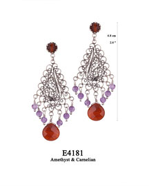 E4181 OXI 125, GP 145:  EARRING TULIP CUP W/ CARNELIAN, FILIGREE LOTUS FLOWER W/ 6 AMETHYST DROPS & CARNELIAN CENTER DROP.