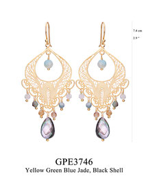 GPE3746: GP 135, G OF E GP HANGING EARRING FILIGREE SWIRLY DESIGN W/ YELLOW GREEN BLUE JADE ON THE BOTTOM, BLACK SHELL CENTER & BOTTOM.