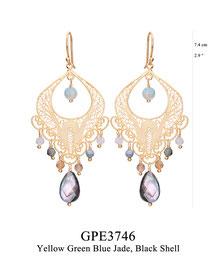 GPE3746: GP 135, G OF E GP HANGING EARRING FILIGREE SWIRLY DESIGN W/ YELLOW GREEN BLUE JADE ON THE BOTTOM, BLACK SHELL CENTER & BOTTOM.