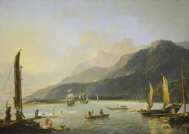 Die Schiffe Resolution und Adventure in der Matavai-Bucht von Tahiti, auf ihrer zweiten Reise. Von William Hodges