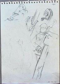* 942- Sur les dessins on peut lire le nom du morceau qui était joué au moment précis où je l'écrivais !