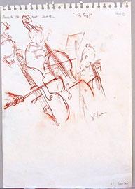 *940- Beaucoup d'émotion à croquer ces jeunes et moins jeunes musiciens en train de jouer...