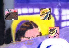 Conditioning Behavior (Mary Hartman), acrylics on paper 29,7 cm x 42 cm