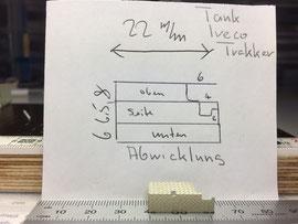 Plan & abgebogene Verkleidung von Treibstofftank