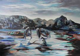 Szenerie, Acryl und Öl auf Leinwand, 135x190cm, 2016 ©Dorothee Liebscher