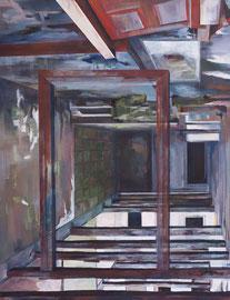 """Eingang, aus der Reihe """"Rückblicke-Durchblicke"""", Acryl auf Leinwand, 180x140cm, 2013 ©Dorothee Liebscher"""