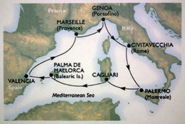 Unsere Reiseroute im westlichen Mittelmeer
