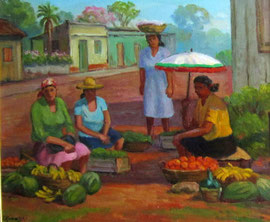 Vendeuses de fruits(Argentine) 41x49 HST