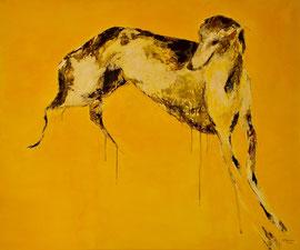 Lévrier sur tapis jaune n. 3 - 100x120