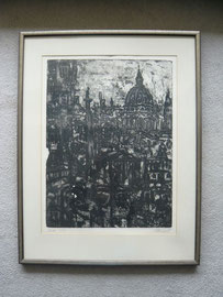 """""""London"""", Radierung, signiert, datiert 1965, Exemplar II/XX, Motiv 60 x 45 cm, Rahmen 85 x 65 cm, Preis auf Anfrage"""