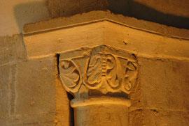 détail sculpture des colonnettes du coeur