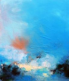 """""""Embruns"""" collage, enduit et acrylique sur toile 100 x 81 cm"""