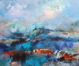 """""""La côte"""" acrylique, huile et enduit sur toile 46 x 55"""