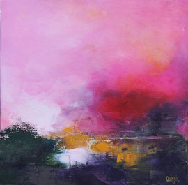 """""""Ciel rose"""" peinture acrylique sur toile 60 x 60"""