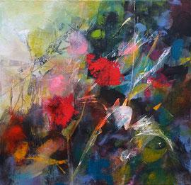 """""""Ombre et lumière au jardin"""" technique mixte sur toile 40 x 40 VENDUE"""