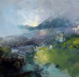 """""""Au pied des montagnes"""", technique mixte sur toile 50 x 50"""