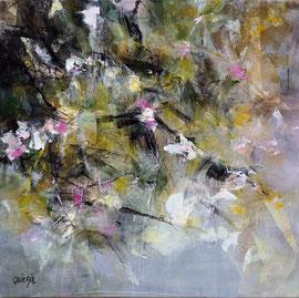 """""""Jeu de branches - Saison Japonaise"""" Collage, encres, peinture acrylique sur toile 60 x 60 épaisseur 4 cm"""