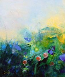 """""""En attendant le printemps"""" technique mixte sur toile 55 x 46"""