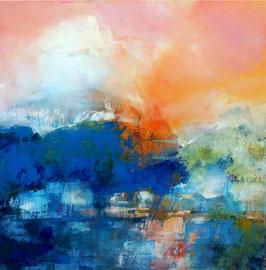 """""""Quiet river"""", acrylique sur toile 80 x 80 disponible"""