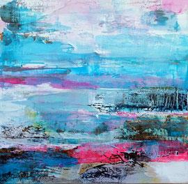 """""""Érosion"""" 2 , collage, peinture acrylique sur toile 60 x 60 épaisseur 4 cm"""