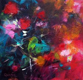 """""""Rouge du soir"""", acrylique et marqueurs sur toile 30 x 30 épaisseur 4"""