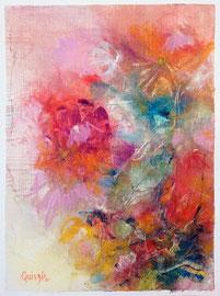 """""""Bloom 08"""" peinture à l'huile sur papier toilé 30 x 40 cm"""