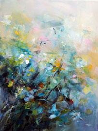 """""""Flower fight"""" technique mixte sur toile 60 x 80 cm"""