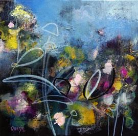 """""""Bloom 06 - Soon winter"""" technique mixte sur toile 50 x 50 cm"""
