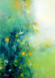 """""""Au bord du ruisseau"""" acrylique sur papier marouflé sur toile 50 x 70 x 1 cm"""