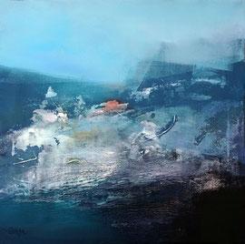 """""""Janvier à nouveau"""" enduits, acrylique et pigments sur toile 50 x 50 cm"""