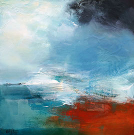 """""""Le temps change"""" acrylique, collage et pigments sur toile 60 x 60 cm"""