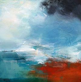 """""""Le temps change"""" acrylique, collage et pigments sur toile 60 x 60 cm VENDU"""