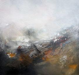 """""""Snow time"""" Pigments, ciment, enduit, cire, acrylique sur toile 60 x 60 disponible"""