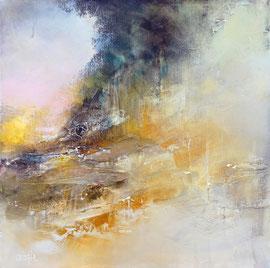 """""""Lumière d'automne"""" Acrylique, pigment, enduit sur toile 60 x 60 disponible"""