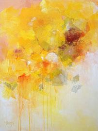 """""""Fleurs jaune d'or"""", technique mixte sur toile 116 x 89"""