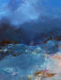 """""""Living blue"""" 2 technique mixte sur toile 65 x 92"""