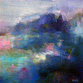 """""""Au bord d'un lac"""" technique mixte sur toile 60 x 60"""