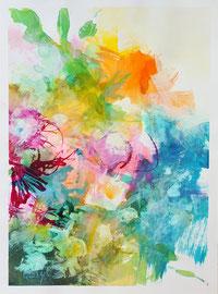 """""""Bloom 01"""" encres, acrylique et marqueurs sur papier toilé 30 x 40 cm"""
