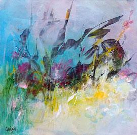 """""""Blowin' in the wind"""" technique mixte sur toile 50 x 50 cm épaisseur 3.5 cm"""