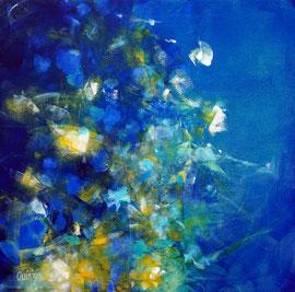 """""""Jardin aquatique 4"""", acrylique et marqueurs sur toile 50 x 50"""
