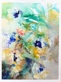 """""""Bloom 02"""" encres, acrylique et marqueurs sur papier aquarelle 450 g, 30 x 40 cm"""