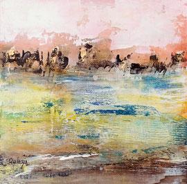 """""""Lumière d'automne"""" enduits, encres, peinture acrylique sur panneau MDF 20 x 20 épaisseur 5 mm."""