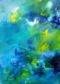 """""""Jardin aquatique"""" acrylique et marqueurs sur papier marouflé sur toile 50 x 70 x 1 cm"""