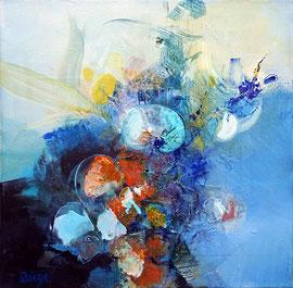 """""""Bloom 05"""" technique mixte sur toile 40 x 40 cm"""