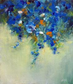 """""""Fleurs bleues"""" peinture acrylique sur toile 55 x 46"""