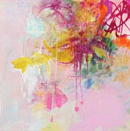 """""""Pink ladies"""" technique mixte sur bois 20 x 20 cm épaisseur 1 cm"""